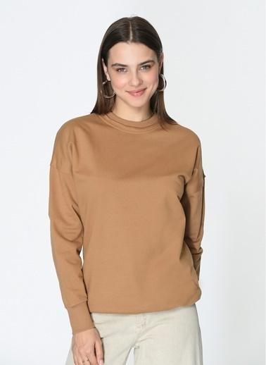 Loves You Loose Fit Basic Sweatshirt Camel